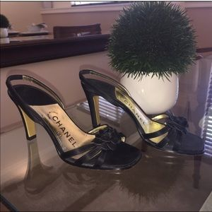 authentic Chanel heels sandals blackrose slingback
